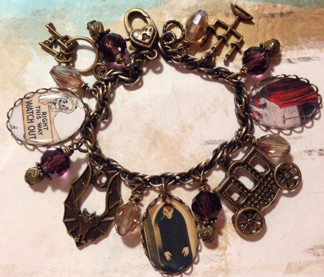 Art: Haunted Castle Altered art charm bracelet ooak by Artist Lisa  Wiktorek