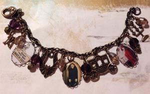 Detail Image for art Haunted Castle Altered art charm bracelet ooak