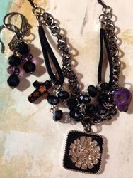 Art: Midnight Altered Art charm Necklace by Artist Lisa  Wiktorek