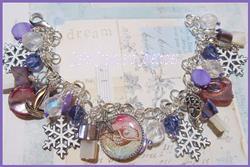 Art: Sugarplum Shores Altered art charm bracelet Christmas by Artist Lisa  Wiktorek