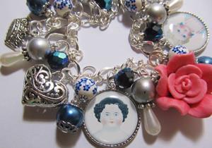 Detail Image for art Frozen Charlotte Dolls Altered Art Charm Bracelet ooak