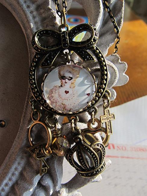 Art: Marie Antoinette Altered Art Necklace by Artist Lisa  Wiktorek