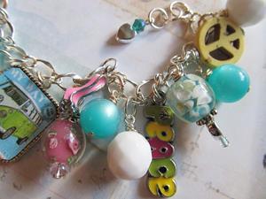 Detail Image for art Retro throwback, Altered Art charm bracelet