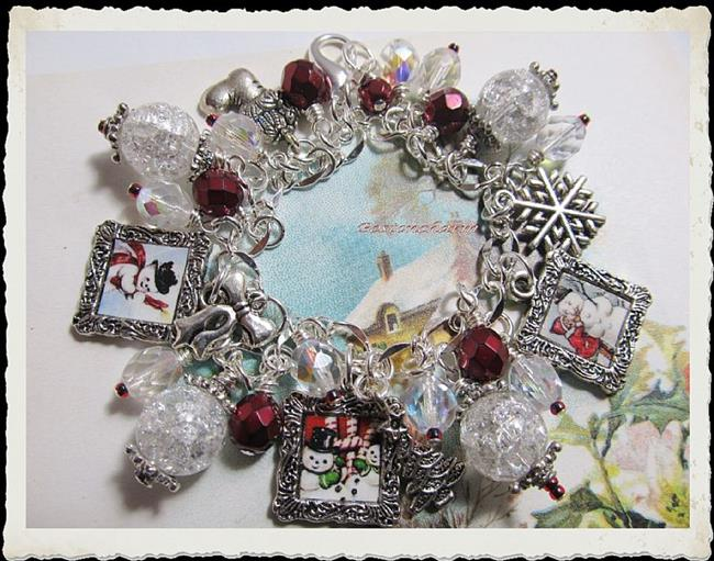 Art: Vintage Snowman altered art charm bracelet by Artist Lisa  Wiktorek