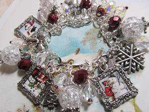 Detail Image for art Vintage Snowman altered art charm bracelet