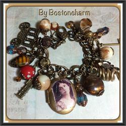 Art: Boho Altered Art charm bracelet by Artist Lisa  Wiktorek
