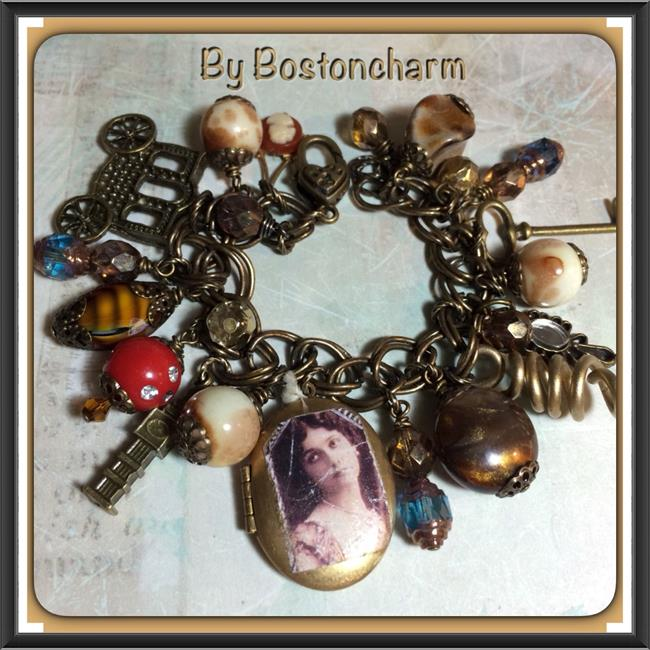 Art: Boho Altered Art charm bracelet by Artist Lisa  Wiktorek