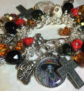 Detail Image for art Day of the Dead  Altered art Charm Bracelet  soak