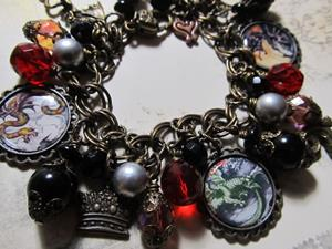 Detail Image for art Dragons Den altered art charm bracelet