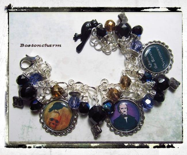 Art: Edgar A. Poe altered art charm bracelet one of a kind handmade by Artist Lisa  Wiktorek
