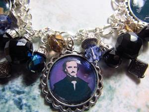 Detail Image for art Edgar A. Poe altered art charm bracelet one of a kind handmade