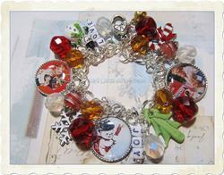 Art: Christmas Joy Altered art charm bracelet by Artist Lisa  Wiktorek