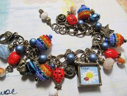 Art: Ladybug Charm bracelet one of a kind, all handmade by Artist Lisa  Wiktorek