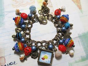 Detail Image for art Ladybug Charm bracelet one of a kind, all handmade