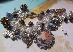 Art: Vintage Resort Diva Altered Art Charm Bracelet ooak by Artist Lisa  Wiktorek