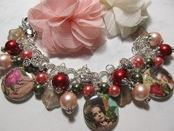 Art: Victorian Rose Garden Altered Art Charm Bracelet ooak by Artist Lisa  Wiktorek