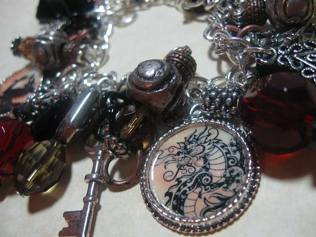 Art: DRAGON Altered Art Charm Bracelet One of a kind by Artist Lisa  Wiktorek