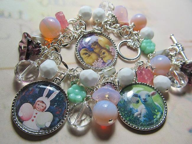 Art: Vintage Postcard Happy Easter Altered Art Charm Bracelet by Artist Lisa  Wiktorek