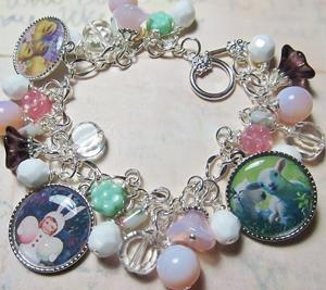Detail Image for art Vintage Postcard Happy Easter Altered Art Charm Bracelet