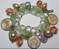 Art: Easter Lillies Altered Art Charm Bracelet by Artist Lisa  Wiktorek