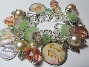 Detail Image for art Easter Lillies Altered Art Charm Bracelet