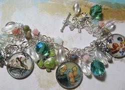 Art: MERMBABIES Altered Art Charm Bracelet ooak by Artist Lisa  Wiktorek