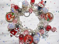 Art: A Vintage Christmas Altered Art Charm Bracelet ooak by Artist Lisa  Wiktorek