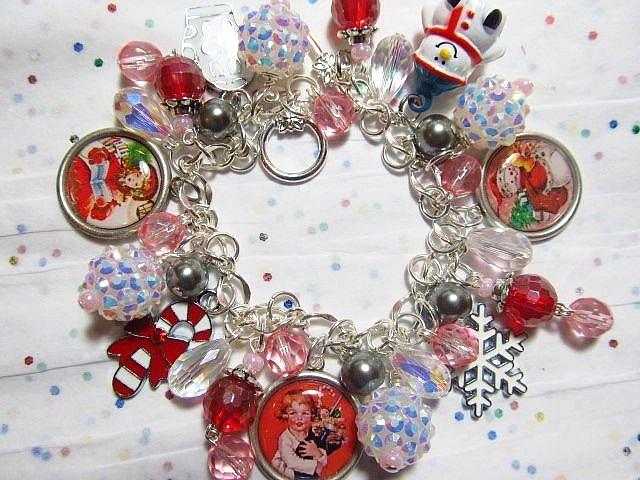 Art: A Vintage Christmas Altered Art Charm Bracelet ooak by Artist Lisa  Wiktorek
