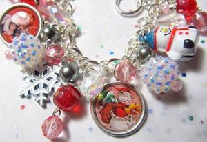 Detail Image for art A Vintage Christmas Altered Art Charm Bracelet ooak