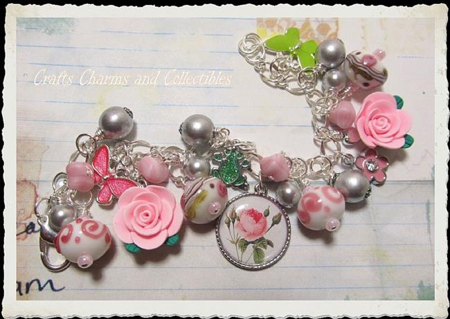 Art: Rose Garden Alterd art charm bracelet ooak by Artist Lisa  Wiktorek