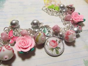Detail Image for art Rose Garden Alterd art charm bracelet ooak