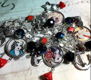 Detail Image for art Tattoo Altered art charm bracelet, handmade , soak