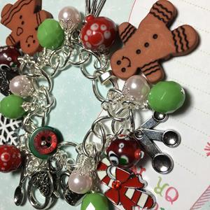 Detail Image for art Gingerbread Cookie Charm Bracelet, altered art, mixed media, OOAK