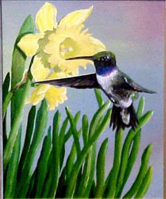 Image result for hummingbird daffodil paintings