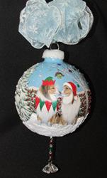 Art: Under The  Mistletoe Sheltie 360 Christmas Ornament by Artist Lynnelily