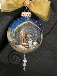 Art: Sable Sheltie Nativity  360 Christmas ornament by Artist Lynnelily
