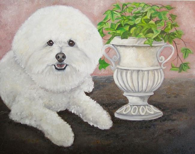 Art: Bichon Frise Tuscan Garden Charm by Artist Lynnelily