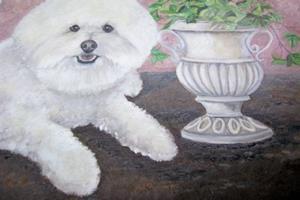 Detail Image for art Bichon Frise Tuscan Garden Charm