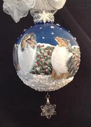 Art: Catching Snowflakes Blue Merle Shetleand Sheepdog Sheltie by Artist Lynnelily