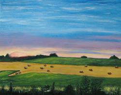 Art: Sunrise At the Hayfield by Artist Donna Gill