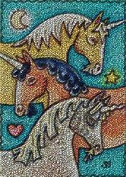 Art: UNICORN ROUND UP - Hooked Rug Needlework by Artist Susan Brack