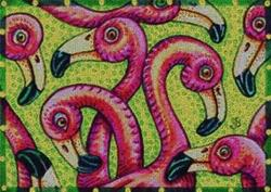 Art: FLAMINGO FLING - Textile Design Needlework Tapestry Hooked Rug by Artist Susan Brack