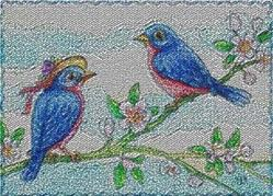 Art: BLUEBIRDS OF HAPPINESS - Needlework Tapestry Rug by Artist Susan Brack