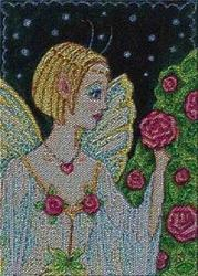 Art: WHEN THE NIGHT ROSES BLOOM - Needlework Tapestry by Artist Susan Brack