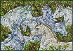 Art: UNICORN GATHERING - Needlepoint Tapestry Hooked Rug by Artist Susan Brack