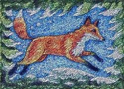 Art: WINTER FOX - Needlepoint Tapestry Rug by Artist Susan Brack