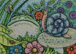Art: CREATURES IN THE GARDEN - Needlework Tapestry Rug Craft by Artist Susan Brack