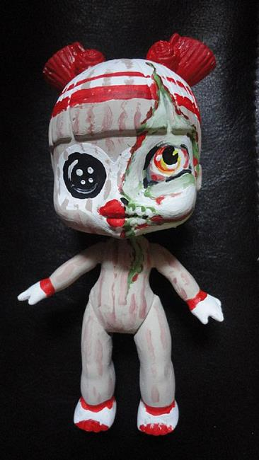 Art: Sock-Monkey Zombie inside me (Nasty Toys for Naughty Children) by Artist Noelle Hunt