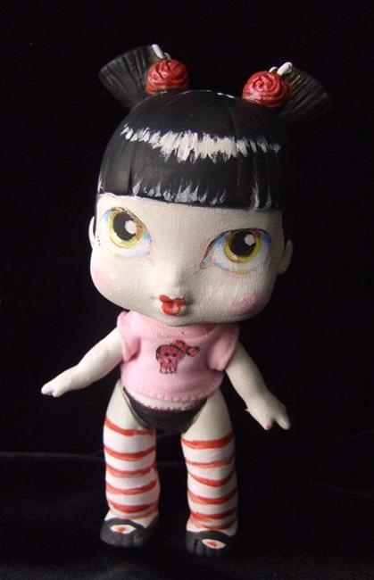 Art: Gothic Gisha altered art emo doll (Nasty toys for Naughty Children) by Artist Noelle Hunt