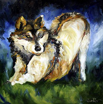 Art: Wolf Summer Play by Artist Laurie Justus Pace